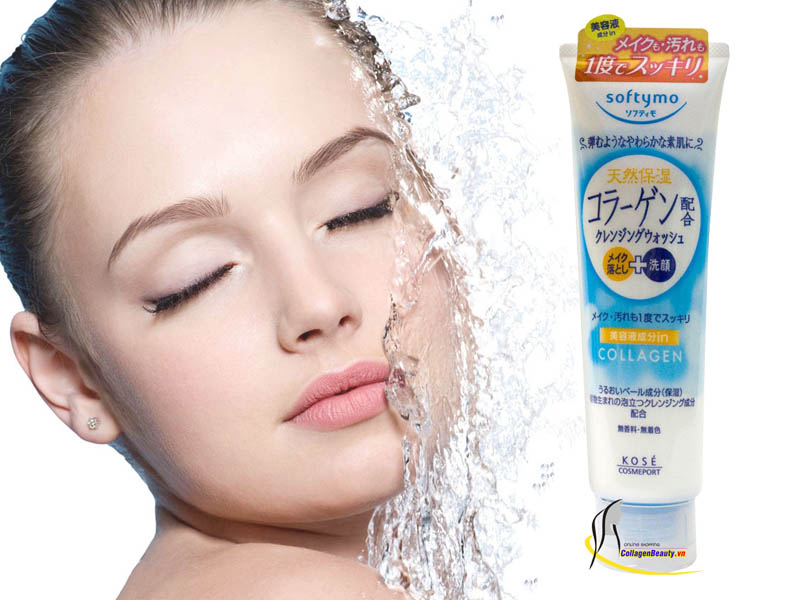 Sữa rửa mặt trắng da Kose Softymo Collagen