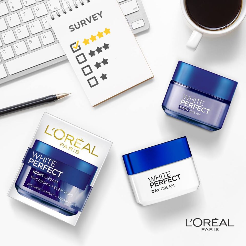 L'oreal Paris White Perfect Day Cream (ban ngày) và Night Cream (ban đêm)
