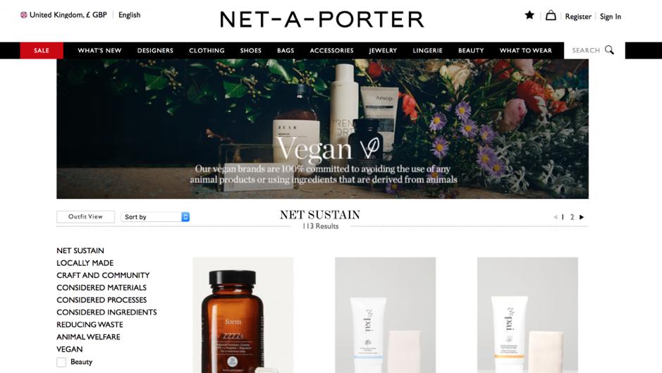 Danh mục các sản phẩm thuần chay của Net-a-porter